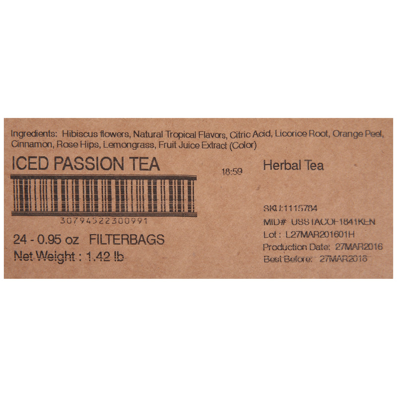 Tazo Fresh Brewed Iced Tea Passion 1 gallon Pack of 24