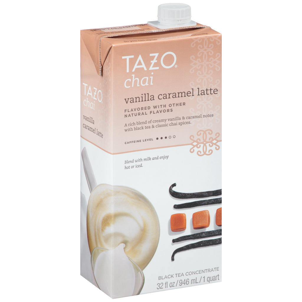 Tazo Tea Concentrate Vanilla Caramel 1:1 32 oz Pack of 6
