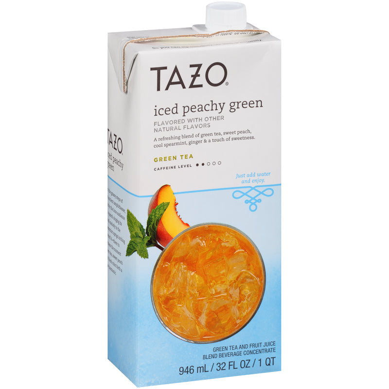 Tazo Iced Tea Concentrate Peachy Green 1:1 32 oz Pack of 6