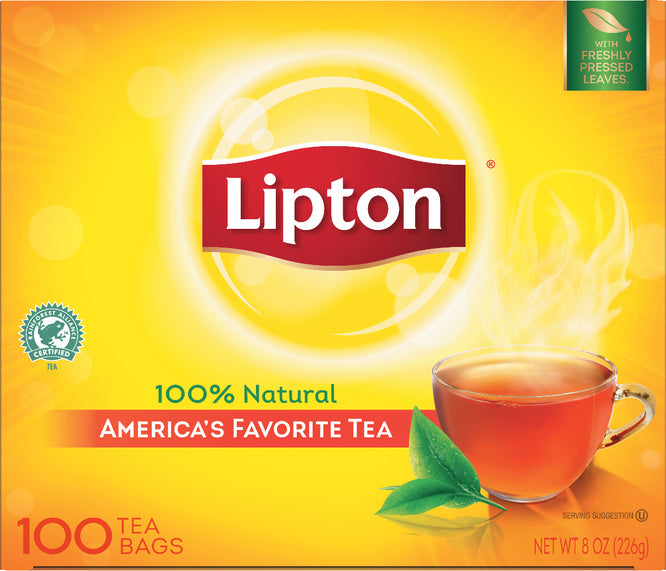 Lipton Hot Tea Bags Orange Pekoe Black 100 count, Pack of 10