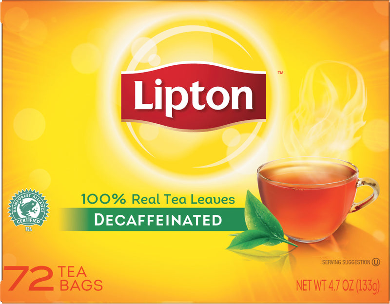 Lipton Hot Tea Black Decaffeinated 72 count, Pack of 6