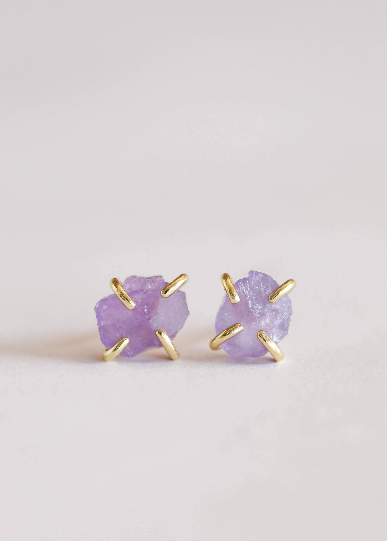 Amethyst Gemstone Prong Earrings - Rise and Redemption