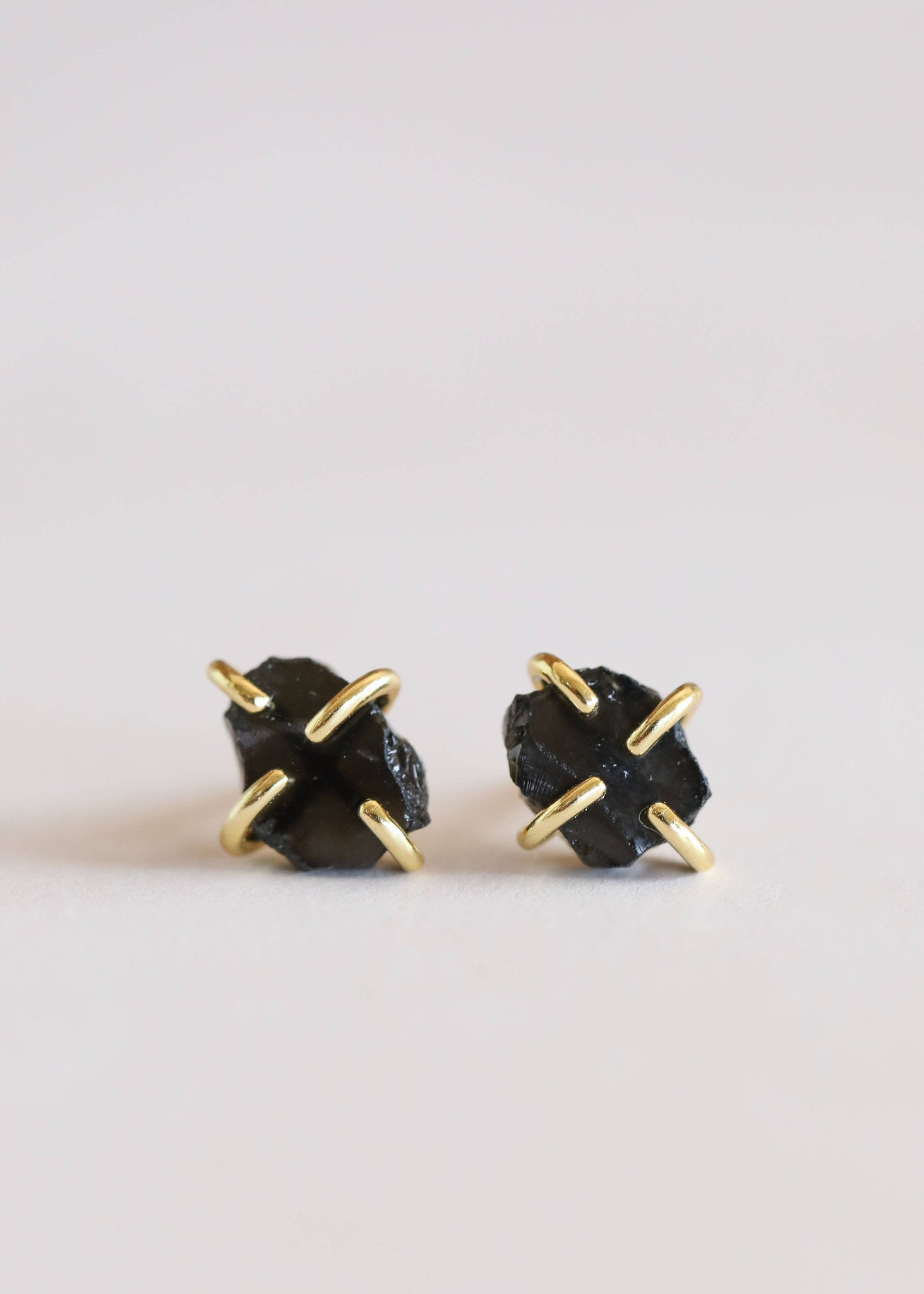 Obsidian Gemstone Prong Earrings - Rise and Redemption