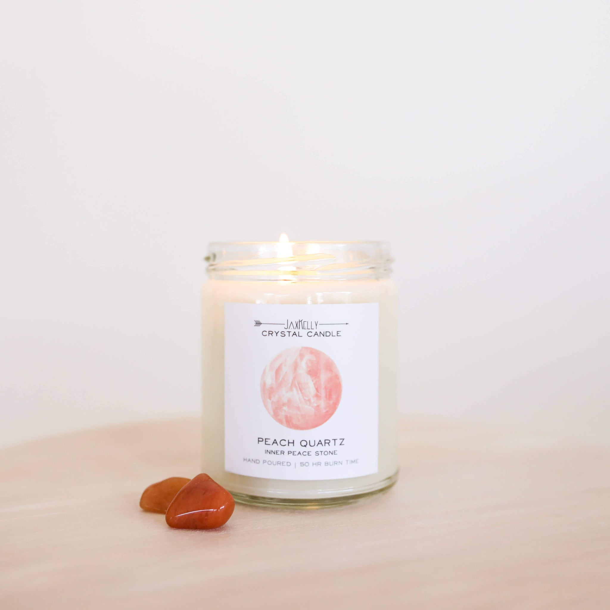Peach Quartz Crystal Candle - Inner Peace - Rise and Redemption