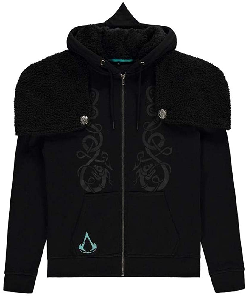 Assassins Creed Hoodie Valhalla Viking Logo Official Mens Black Zipped