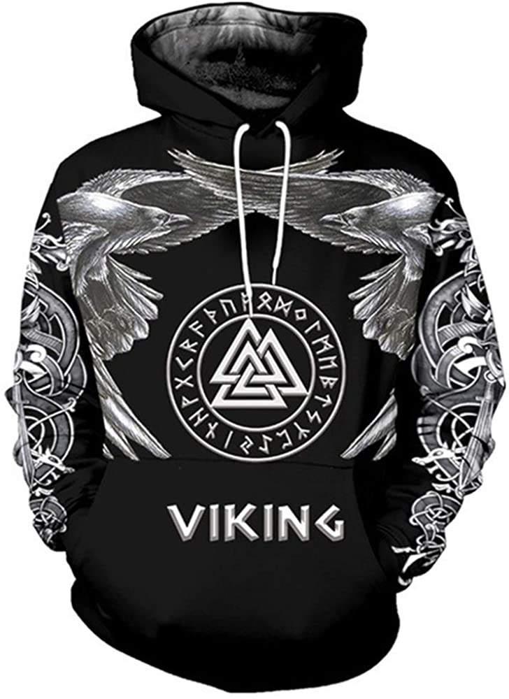 Viking Warrior Tattoo Norse Mythology Pullover Hoodie