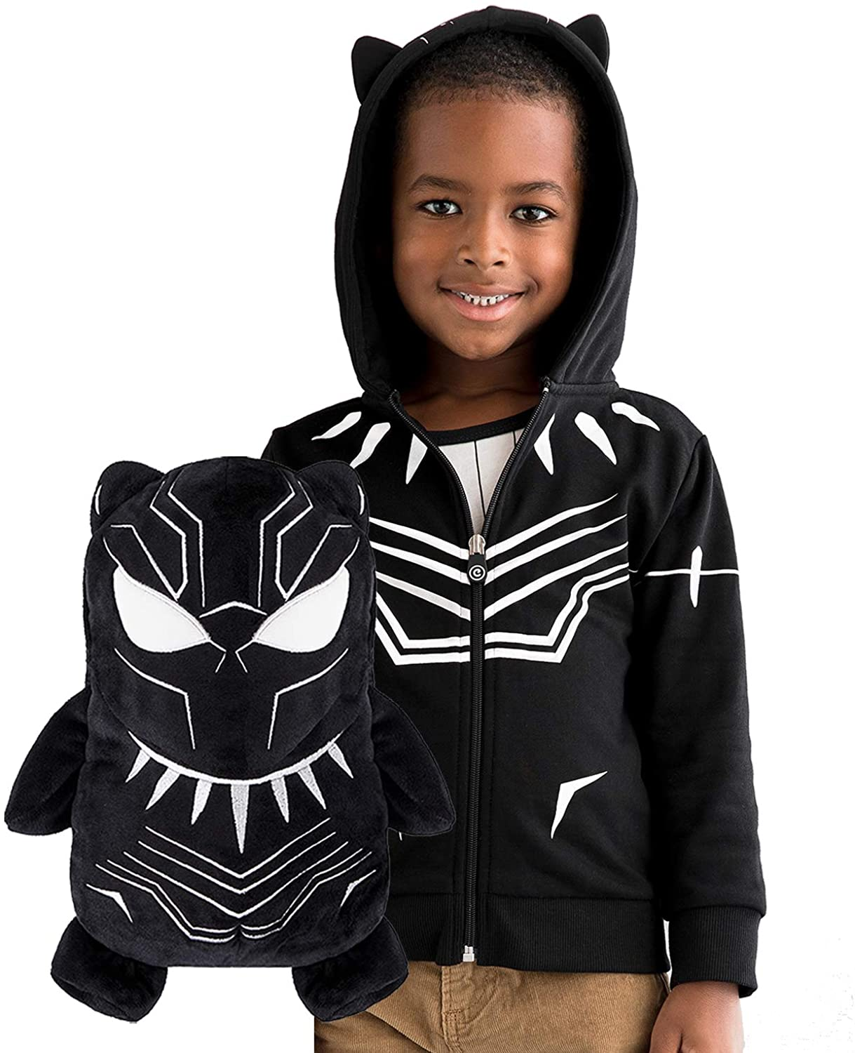Black Panther Hoodie and Soft Plushie For Kids