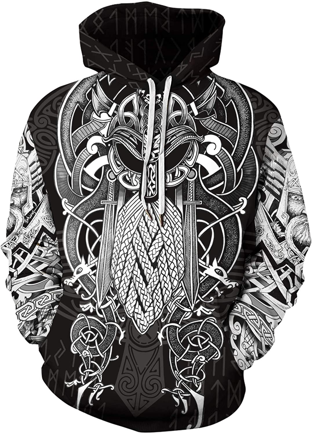 Men's 3D Digital Print Viking Tattoo Hoodie