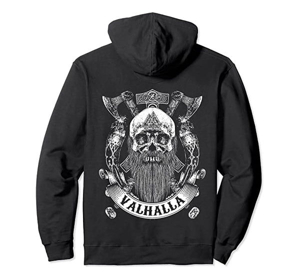 Viking Skull with a Beard Runes Valhalla Hoodie