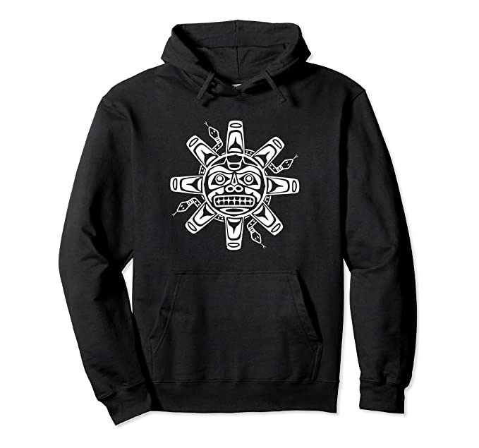 Sun Symbol Abstract Haida Art Pacific Northwest Coast Snakes Pullover Hoodie