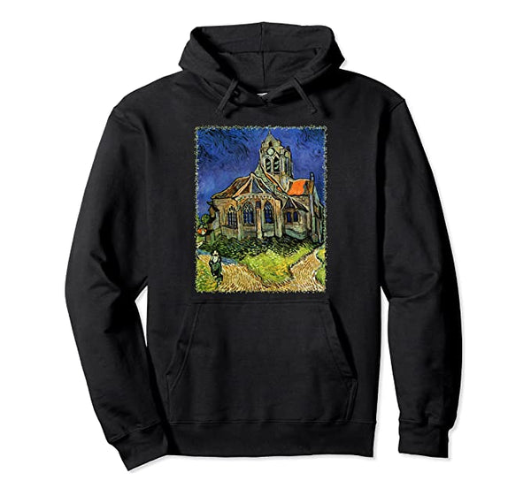 The Church at Auvers by Vincent Van Gogh, Vintage Fine Art Pullover Hoodie