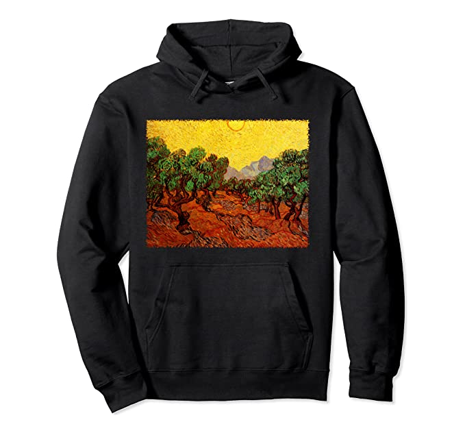 Olive Trees with Yellow Sky and Sun by Vincent van Gogh Pullover Hoodie
