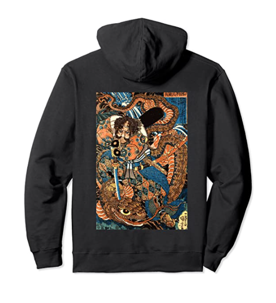 Japanese Samurai Ninja Against Serpent Water Monster Hoodie