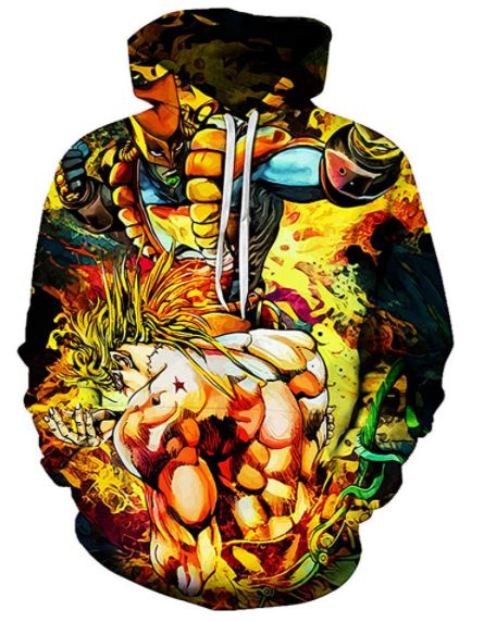 CHENMA Men Cosplay JoJo's Bizarre Adventure 3D Print Pullover Hoodie Sweatshirt with Front Pocket