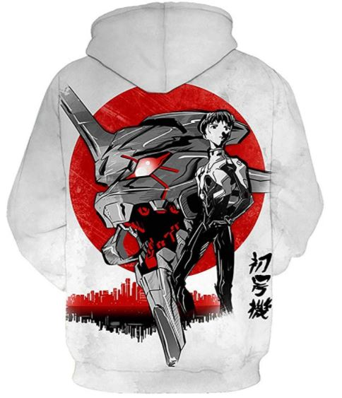 CHENMA Men EVA Evangelion 3D Print Cosplay Hoodie Sweatshirt with Front Pocket
