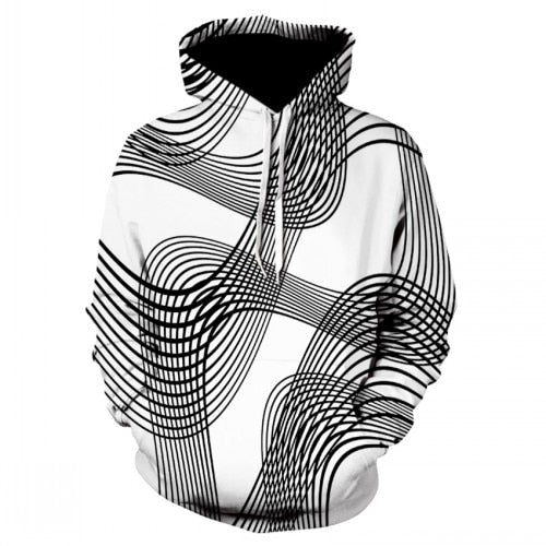Black and white strip vertigo hypnotic hoodie