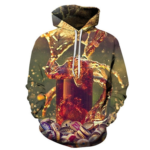 Full Beer Glass Printed Hoodie