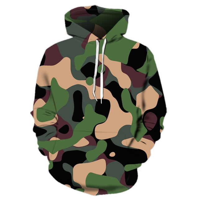 Military Camouflaged Green Hoodie