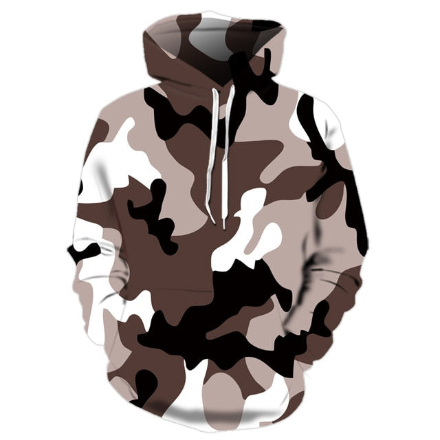 Military Camouflaged Grey Hoodie - 1