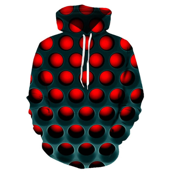 Red Doted 3d Printed hoodie