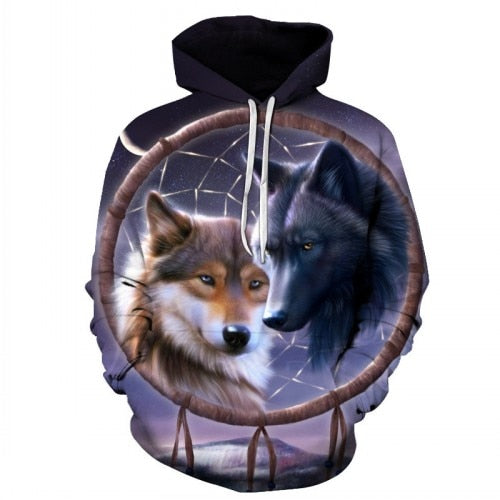 Wolves in Love Print Paint Hoodie