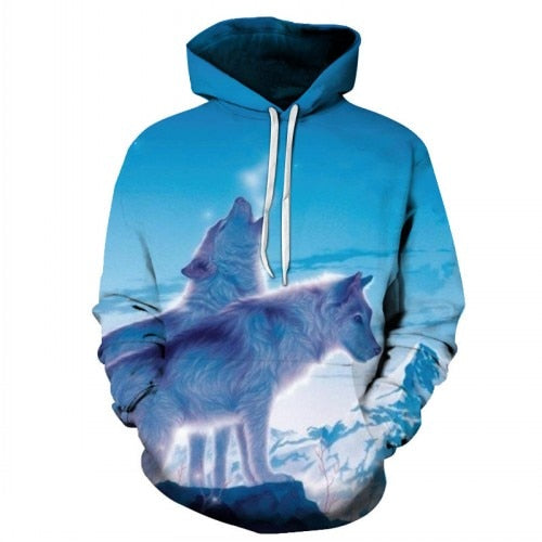 Winter Wolves Print Paint Hoodie
