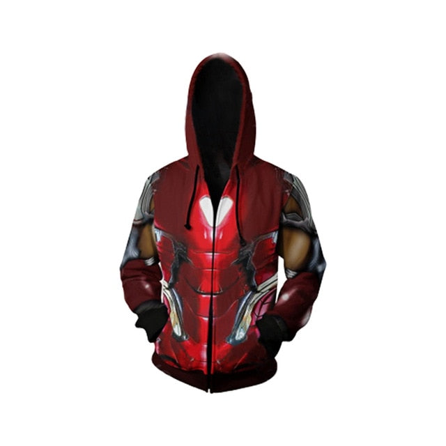 2019 Movie Super hero Iron Man Tony Stark Mark 85 Cosplay Zip Hoodie Sweatshirt Jacket