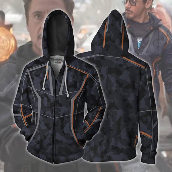 Movie Super hero Iron Man Tony Stark Hoodie Sweatshirt Cosplay Costume 3D printing Jacket Coat