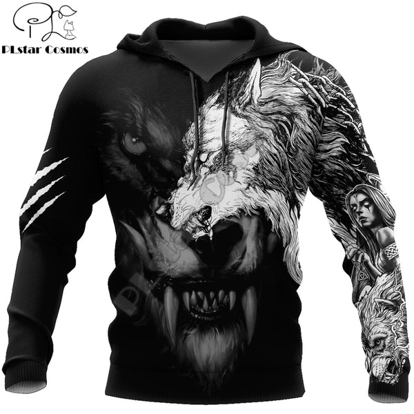 Dark Wolf Tattoo 3D All Over Printed Hoodies