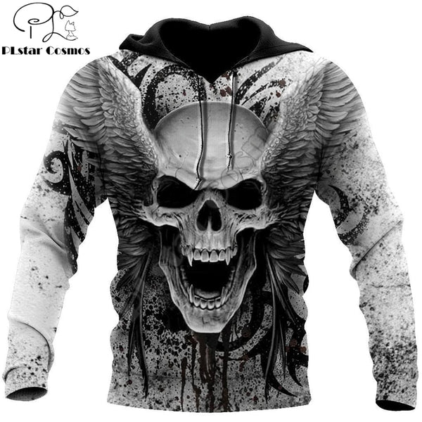 Crazy Skull With Angel Wings 3D All Over Printed Unisex Hoodie