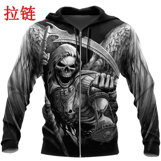 Death Skull Tattoo 3D All Over Printed Fashion Hoodies