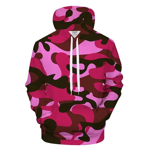 Pink Military Camouflaged Hoodie