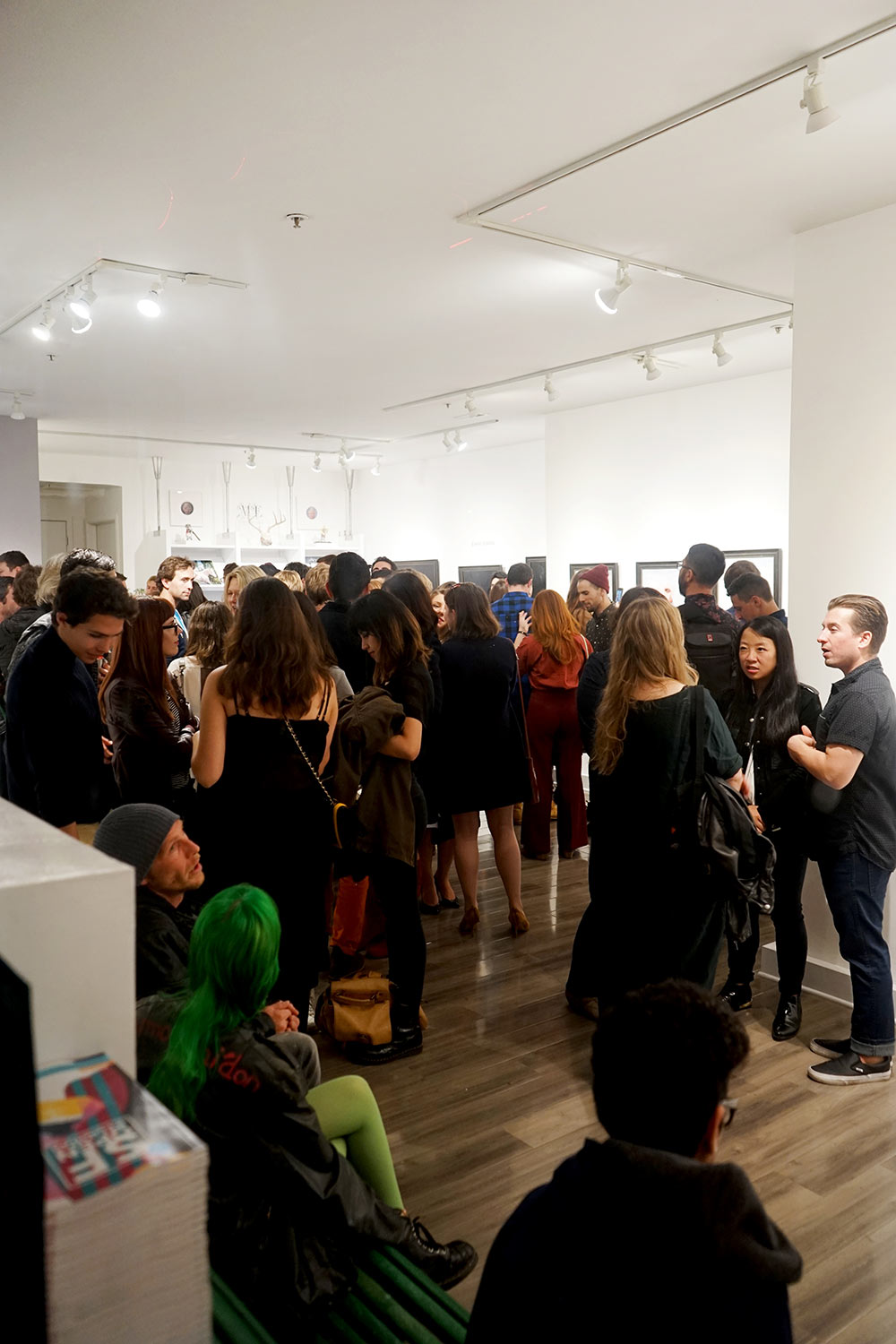 Gallery view at the opening reception of Crystal Morey's Delicate Dependencies