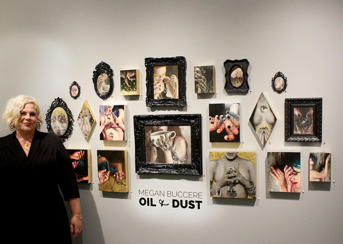 Megan Buccere at the Opening Reception of her solo exhibition Oil and Dust and Modern Eden Gallery in San Francisco