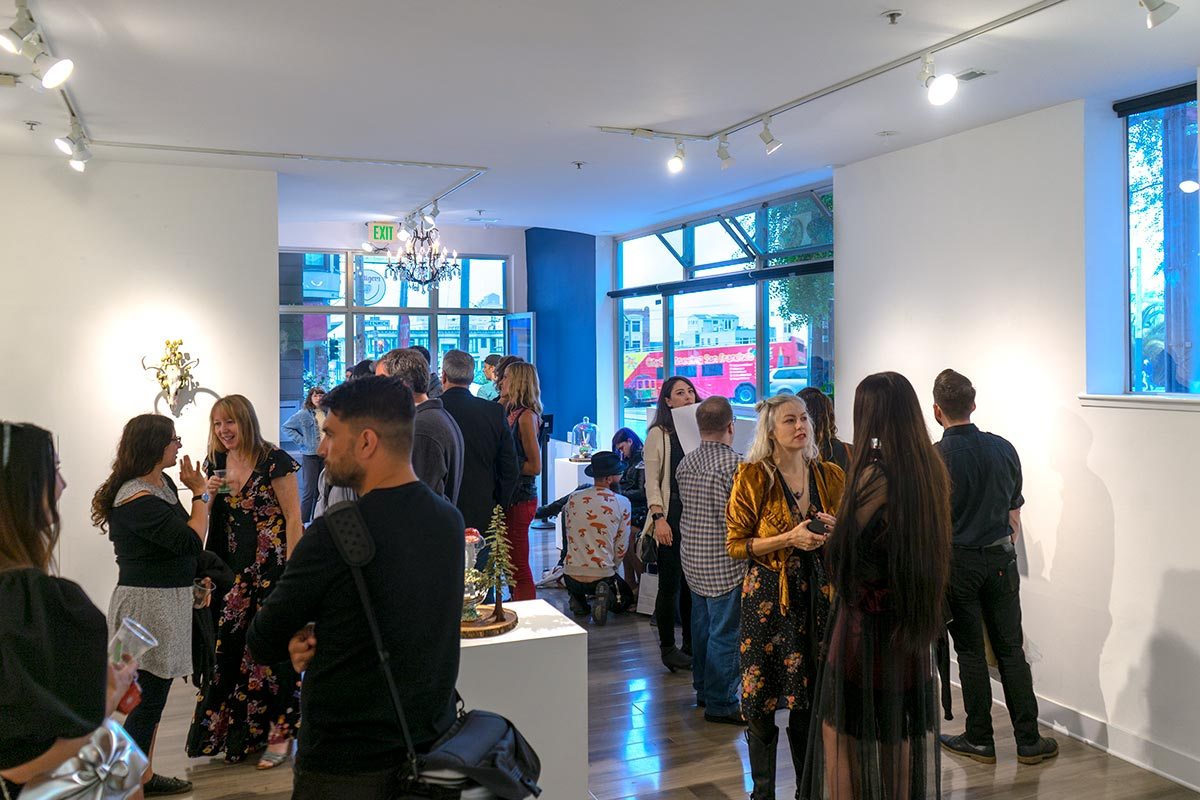 Patrons at the opening reception of Origin at Modern Eden on August 22, 2018
