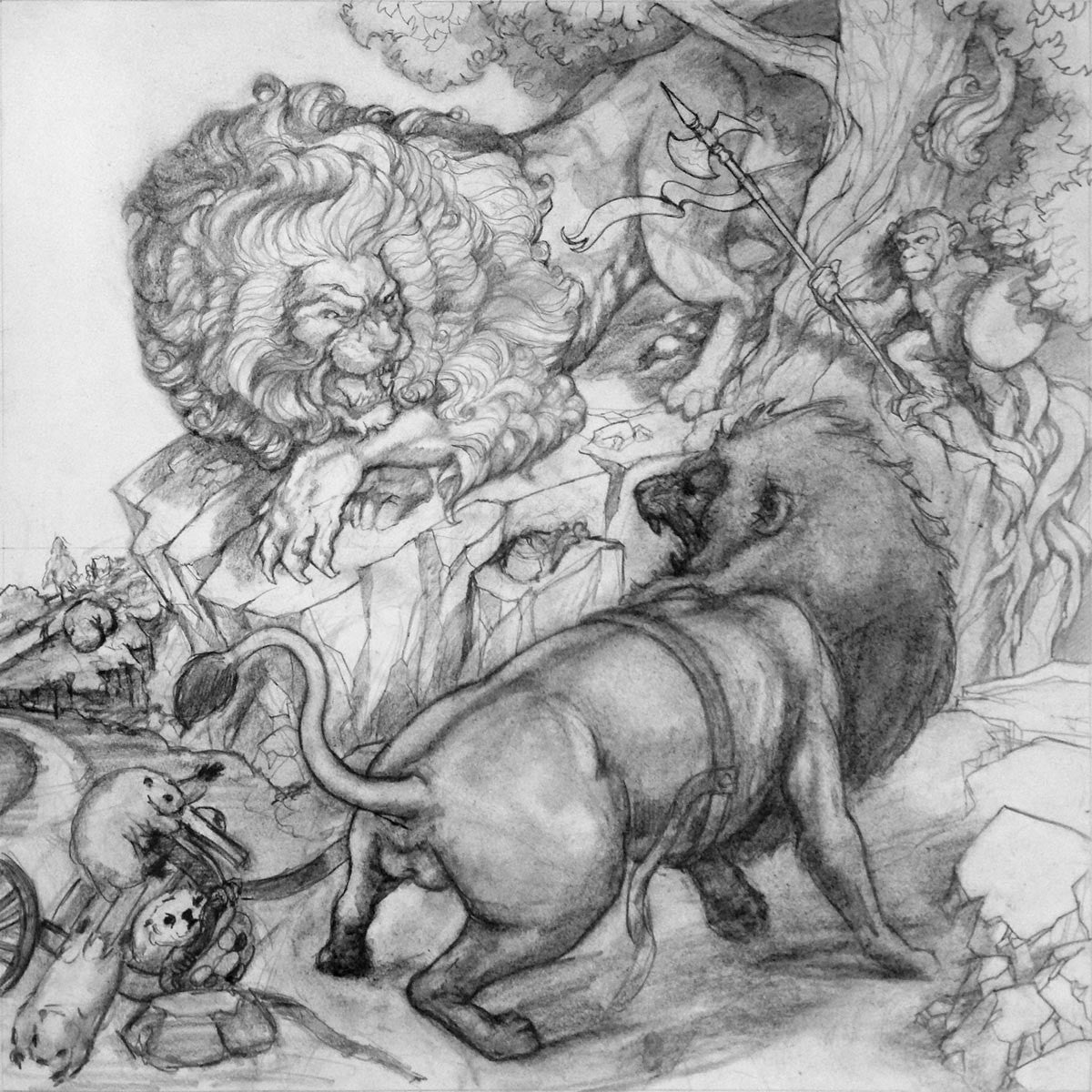 The Lions' Share (Compositional Drawing)