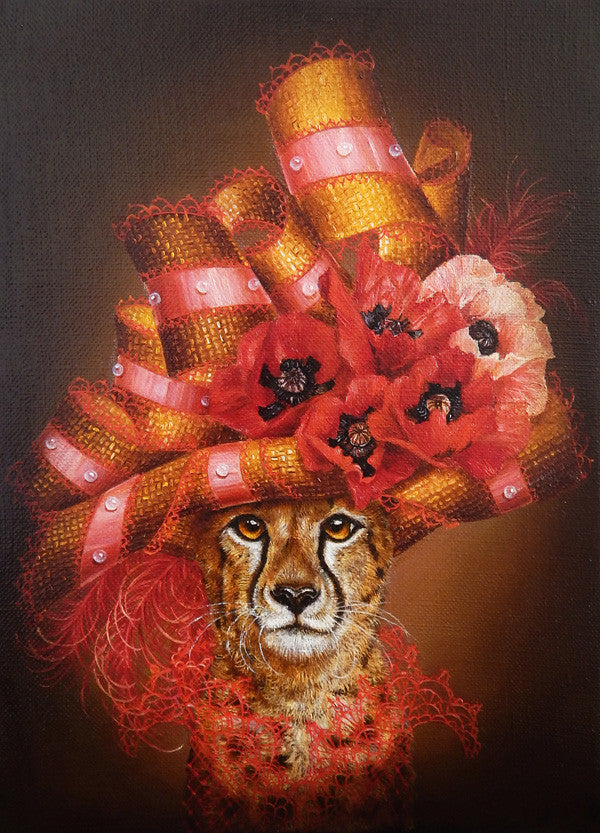 Cheetah with Poppies (Fleurs)