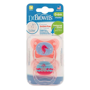 Dr Browns PreVent® Contoured Pacifier 0-6m Pink