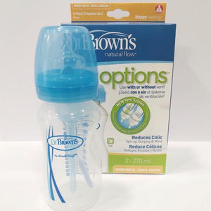Dr Brown's Wide-Neck Bottle - TWIN PACK - Blue