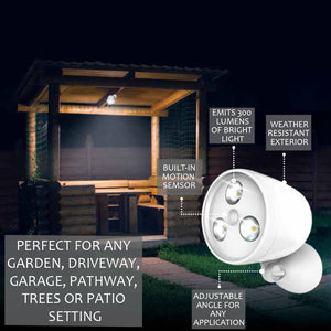 Wireless Battery-Operated Outdoor Motion Sensor Activated LED Spotlight