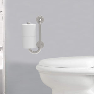 Grab Bar with Toilet Paper Holder (for 2 Mega Rolls)