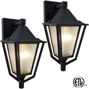 AmeriLuck Wall Sconce Aluminum Lantern 1-Light Outdoor Lighting Twin Pack