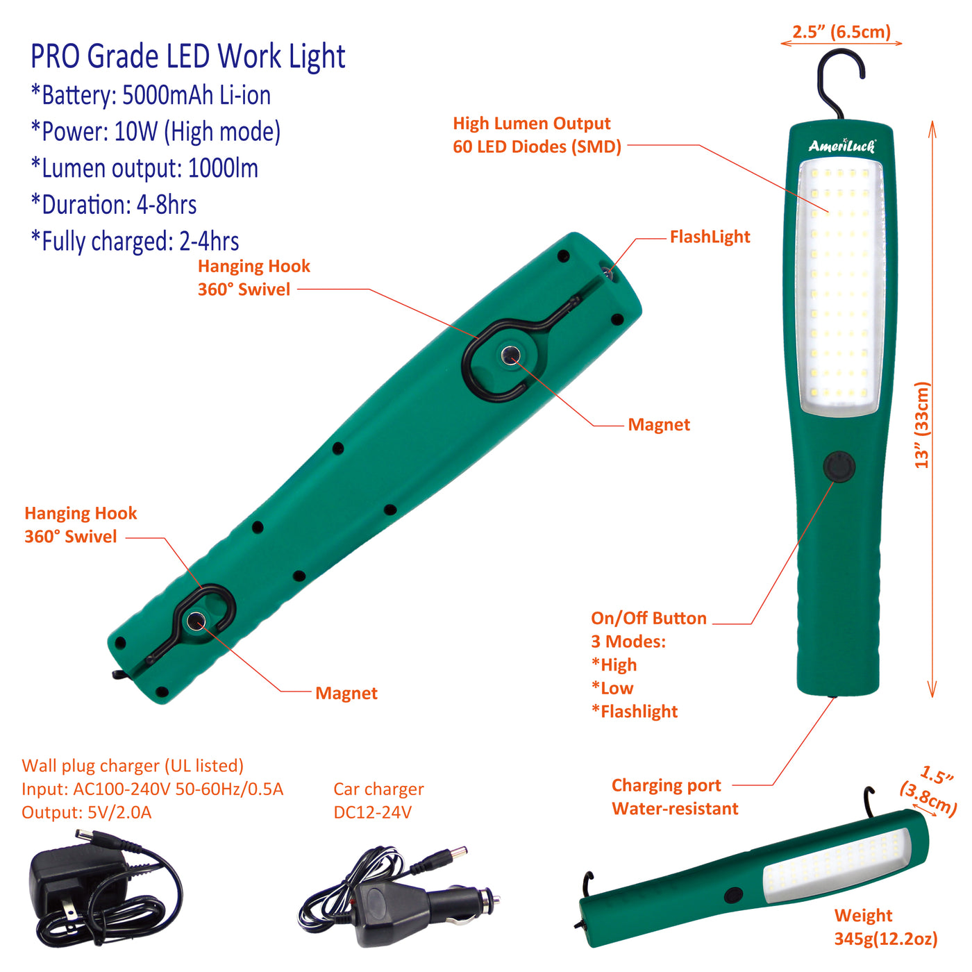 Commercial Grade Cordless Mechanic Work Light LED Rechargeable Super Bright 1000