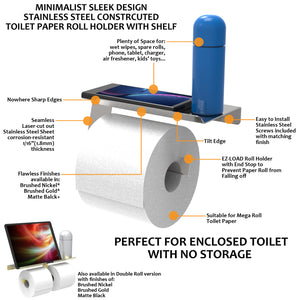 Stainless Steel Toilet Paper Holder with Shelf