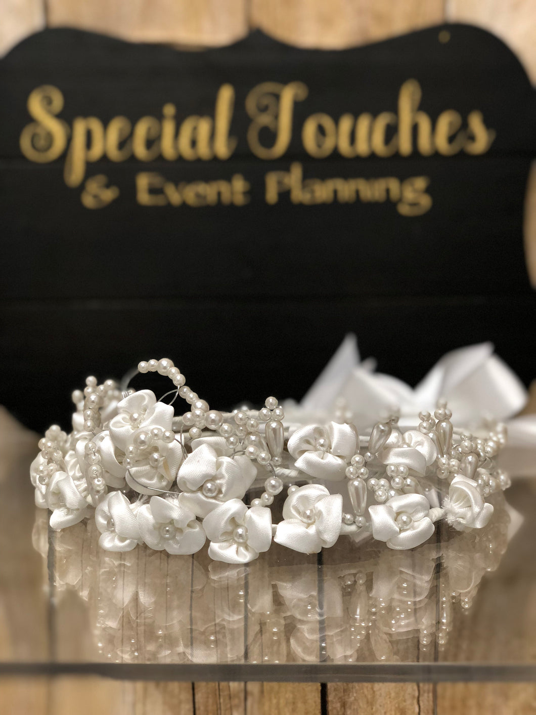 Stefana- Wedding Crowns white flowers and pearls