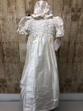 Load image into Gallery viewer, Silk with Venice lace overlay baptismal dress