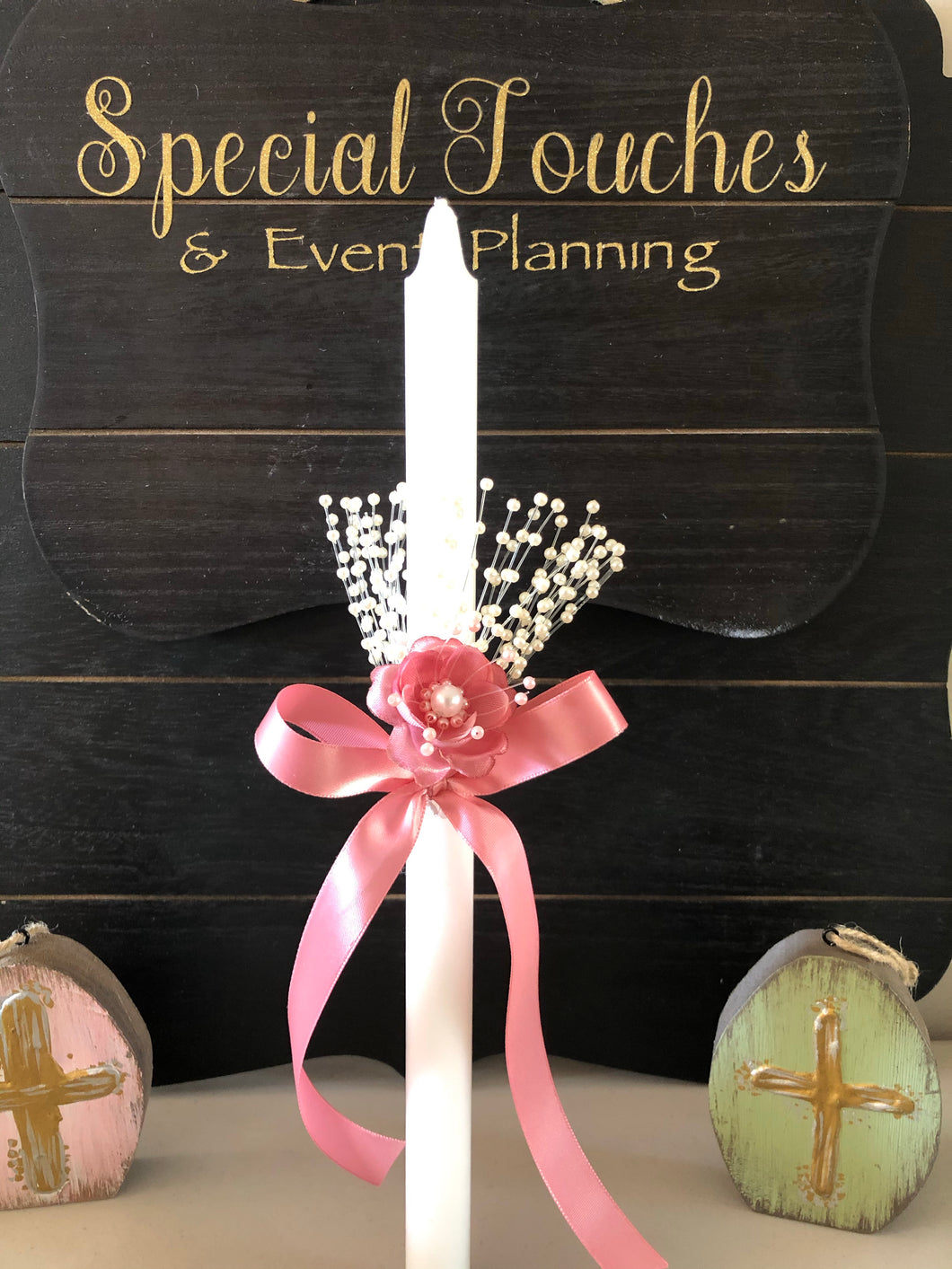 Pretty in Pearls and Pink - Easter Candle/lambatha