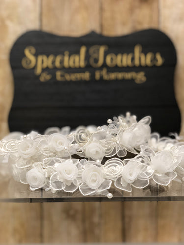Stefana/Wedding Crowns - organza flowers and pearls