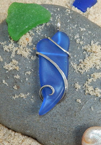 Blue Sea Glass in Sterling Silver Tension Wrapped Pendant