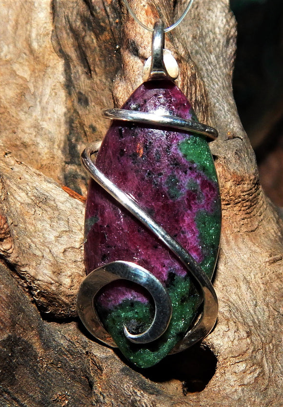 Ruby and Zoisite Cabochon in Sterling Silver Tension Wrapped Pendant